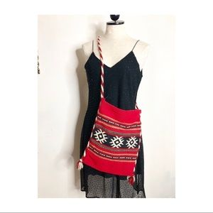 Woven ethnic colorful handmade knit purse bag boho